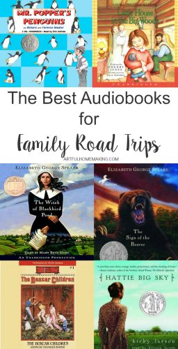 This is a great list of audiobooks for family road trips!