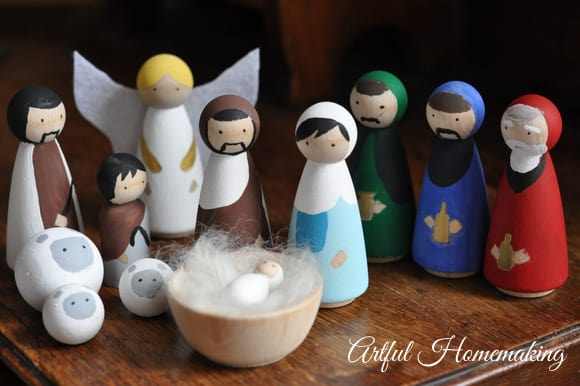 handmade wooden nativity set