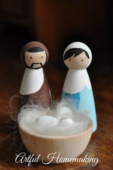 handmade wooden nativity set