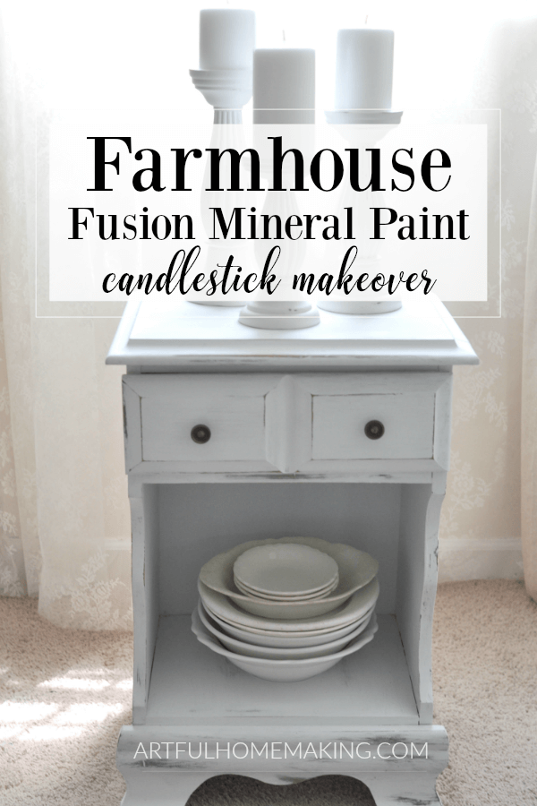 Farmhouse Fusion Mineral Paint Candlestick Makeover