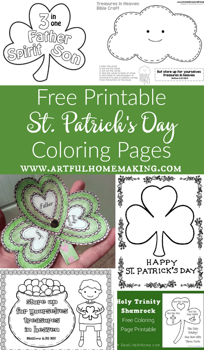 St. Patrick's Day coloring pages and free printable craft pages!