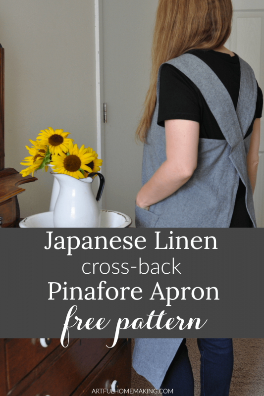 Japanese Linen Cross Back Pinafore Apron Pattern