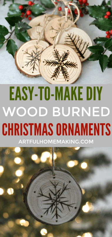 Rustic Wood Slice Christmas Ornaments