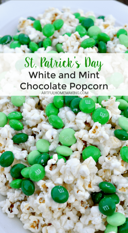 This is a delicious St. Patrick's Day treat! Popcorn covered with white chocolate and mint chocolate candy!