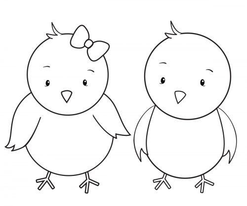 boy and girl chick coloring page