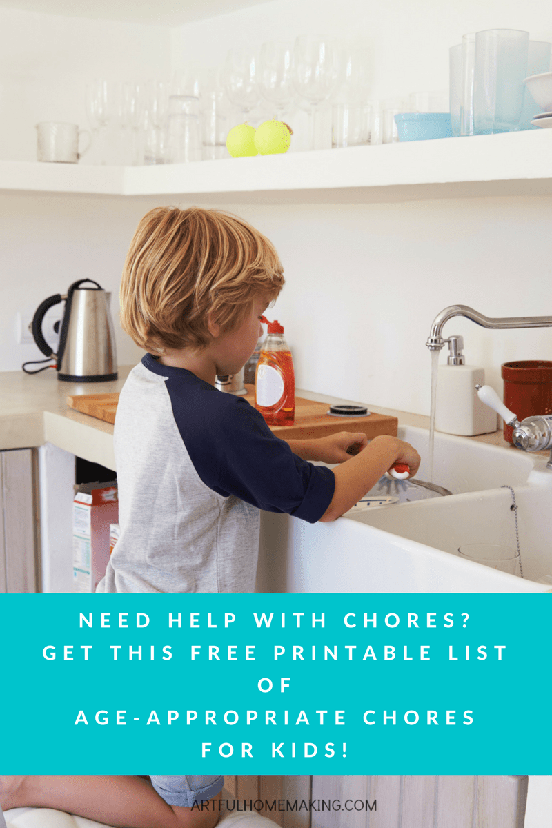 This is an awesome list of age-appropriate chores for kids with a free printable!