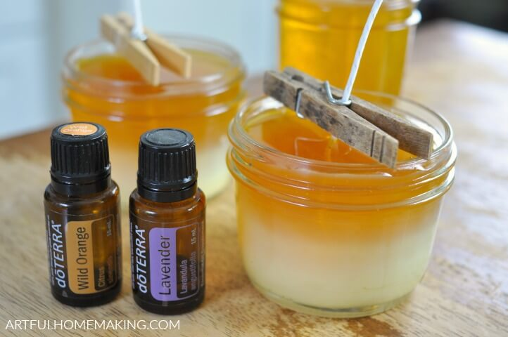 beeswax candles with essential oils