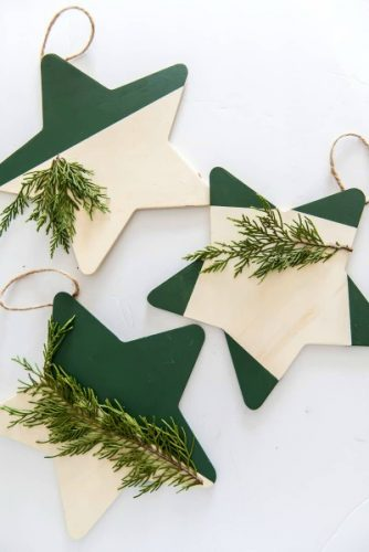 christmas star wooden ornaments