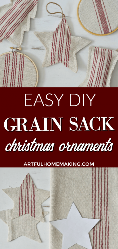 DIY Grain Sack Christmas Ornaments