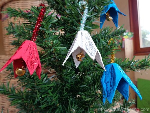 egg carton christmas bell ornament