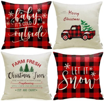 farmhouse christmas pillow covers