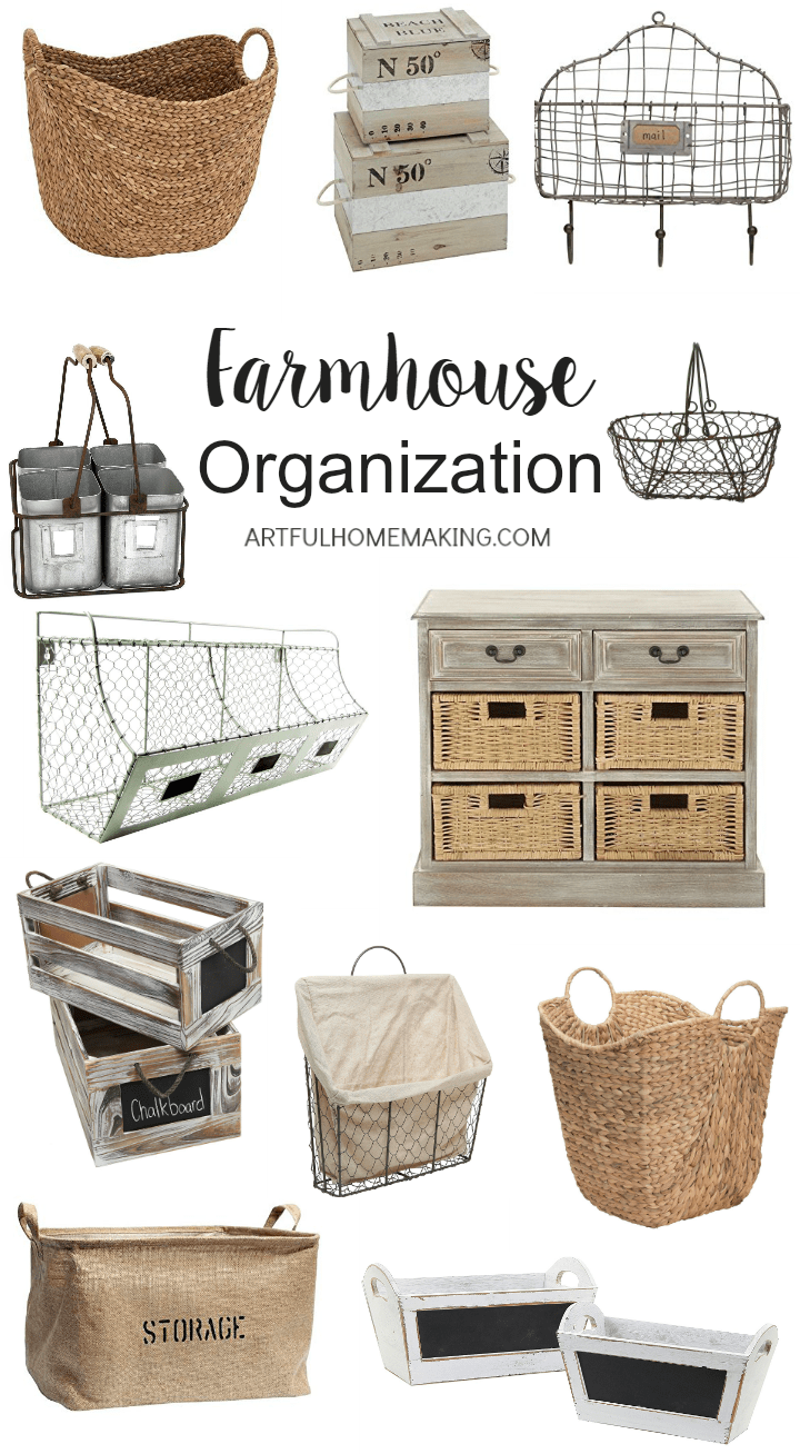 These baskets and bins are great for farmhouse style organization!