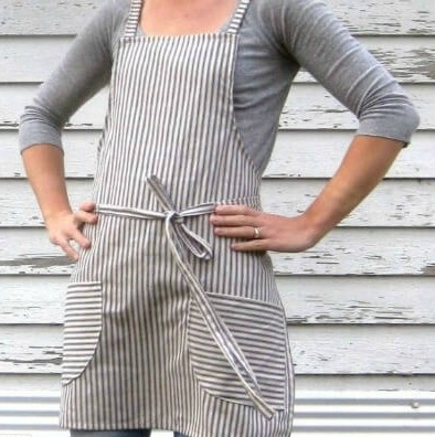 farmhouse ticking apron