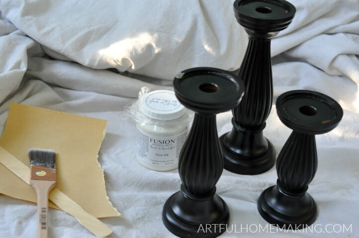 farmhouse fusion mineral paint candlesticks