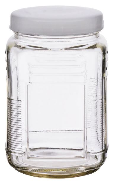dollar store glass storage jar with twist-on lid