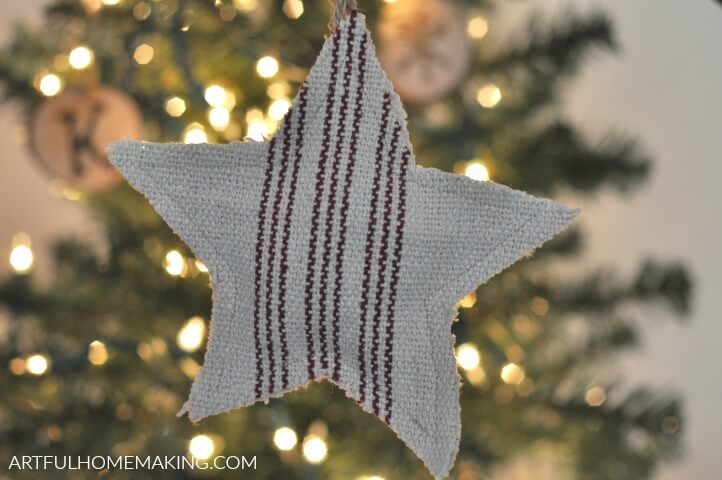 grain sack christmas ornament