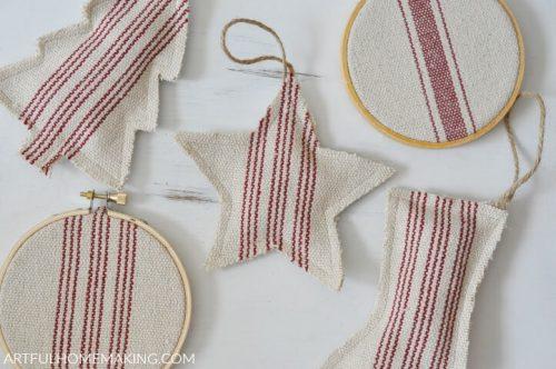 Grain Sack Christmas Ornaments