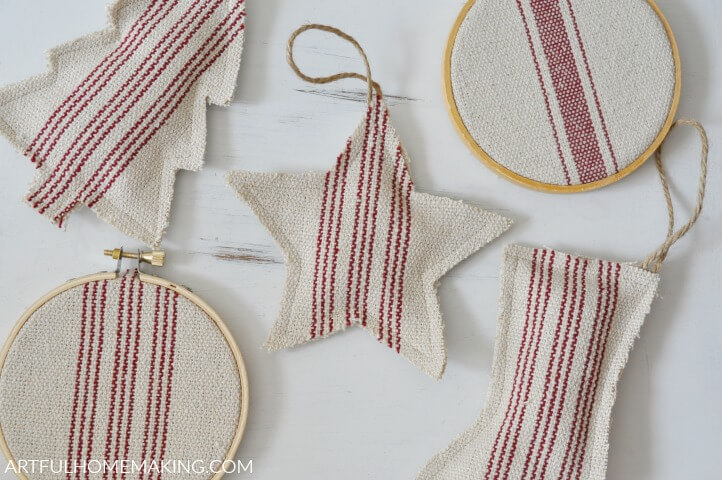 Grain Sack Christmas Ornaments