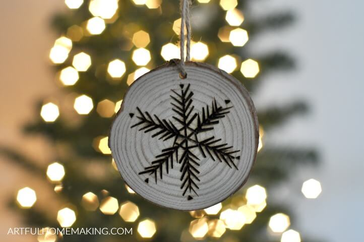 etched wood slice christmas ornament