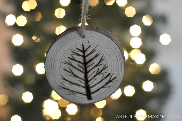 wood slice christmas ornaments
