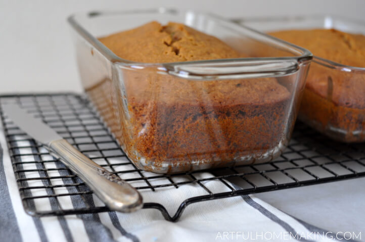 zucchini bread in glass pans