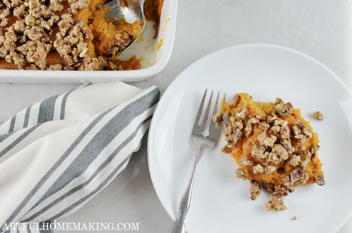 sweet potato casserole on plate