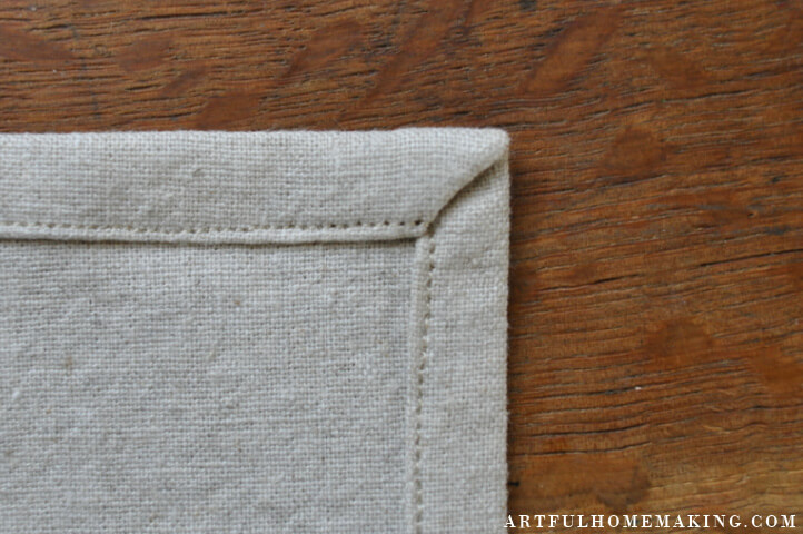 mitered corner on napkin