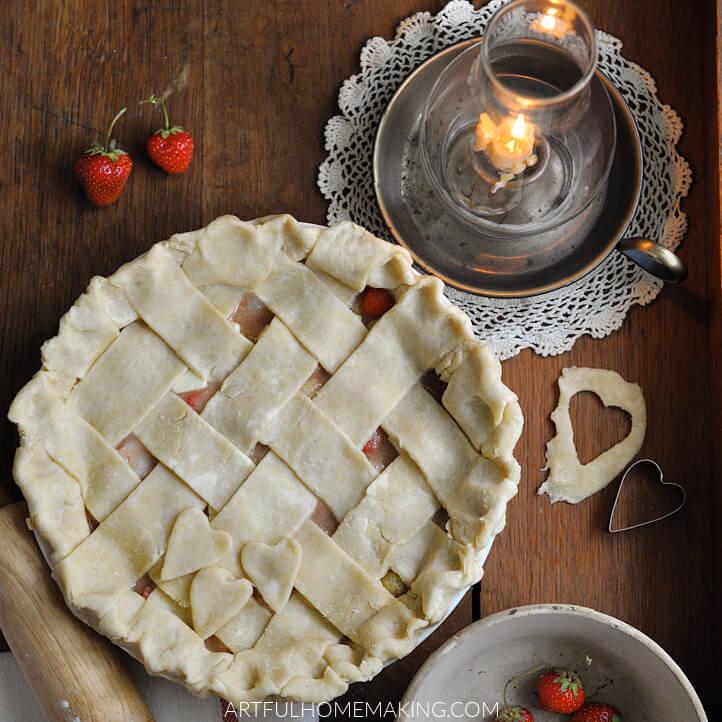 homemade strawberry pie sweetened with honey