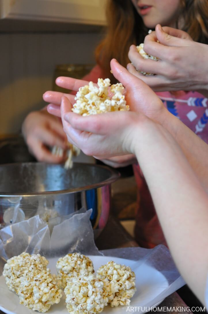 gluten-free homemade honey popcorn balls