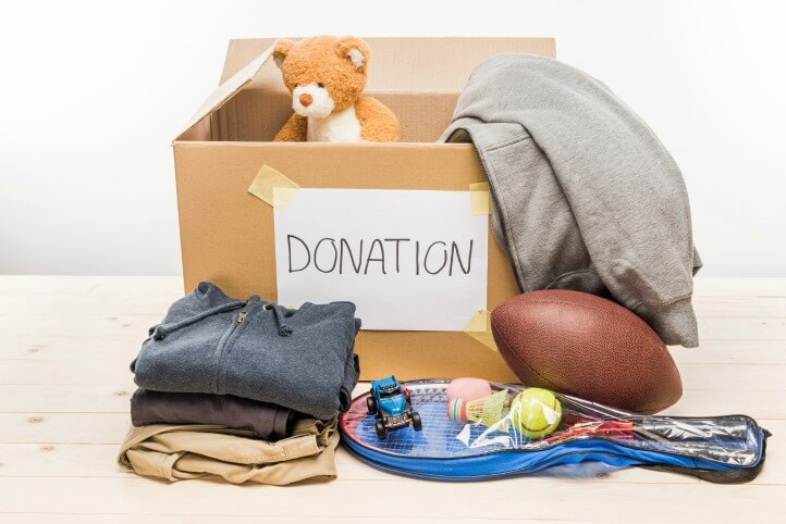 box of stuff for donation