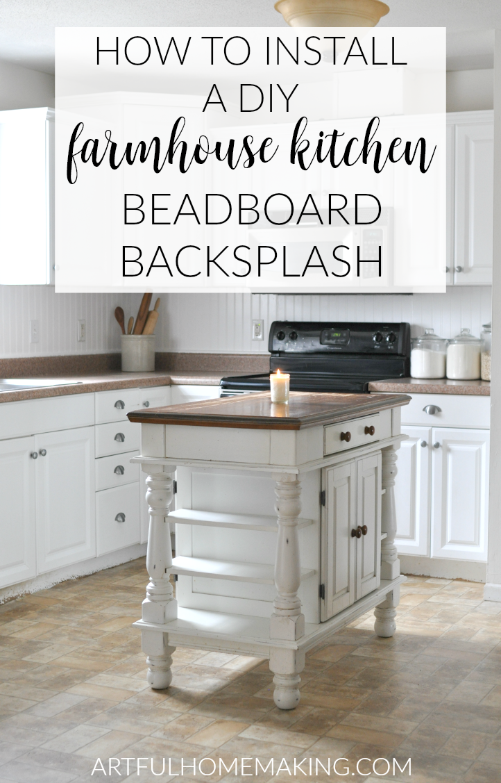 These simple instructions for how to install a beadboard backsplash make this an easy farmhouse DIY project!