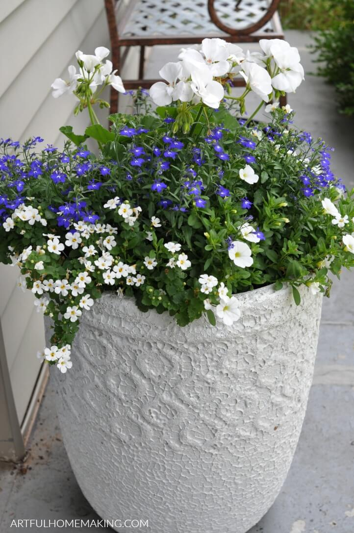 white container garden planter