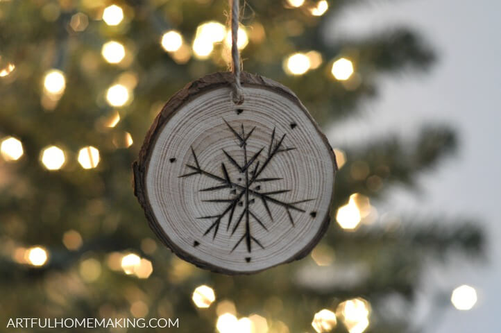 snowflake wood slice christmas ornament