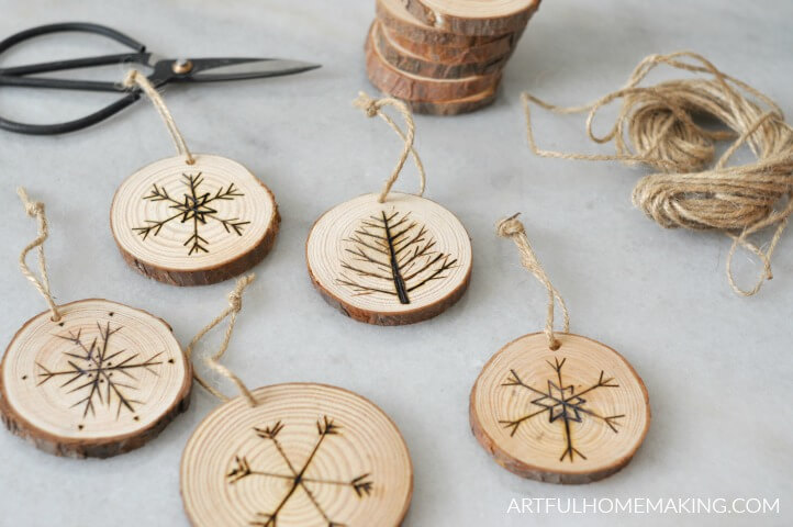 natural wood christmas ornaments