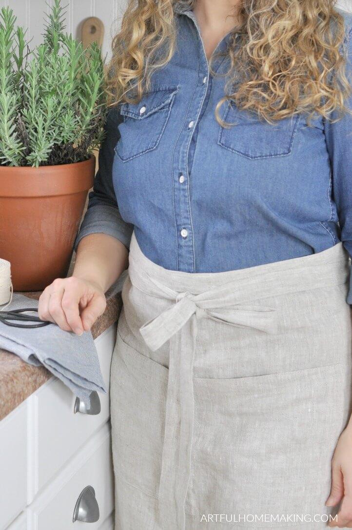 linen half apron pattern