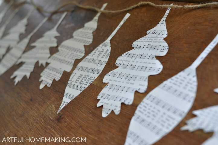 fall leaf book page garland