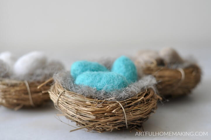 needle felted wool bird eggs