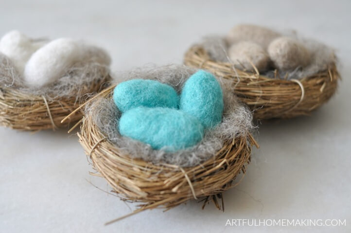 needle felted eggs in nest