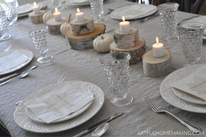 rustic neutral fall tablescape