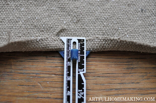sewing gauge with grain sack fabric