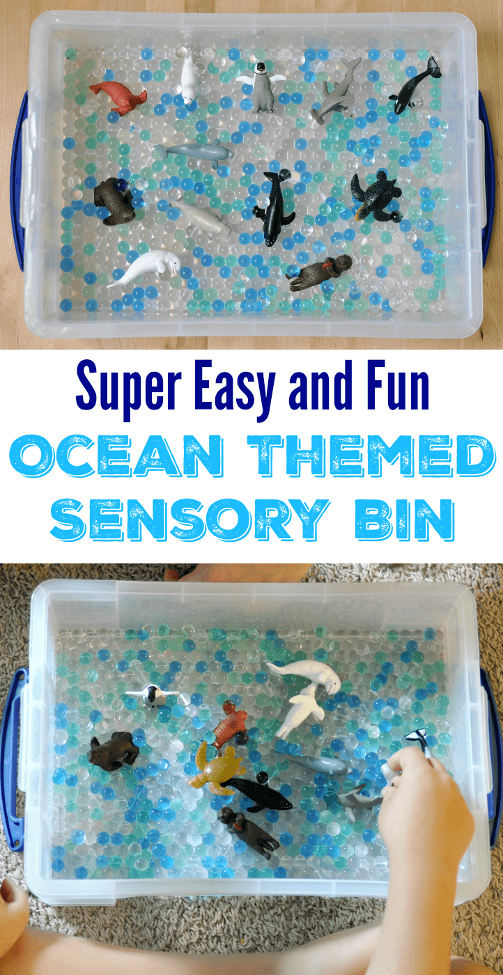 This ocean themed sensory bin is so cute and easy to make!
