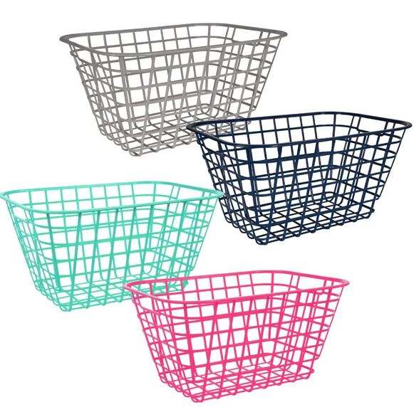 dollar store slotted storage baskets