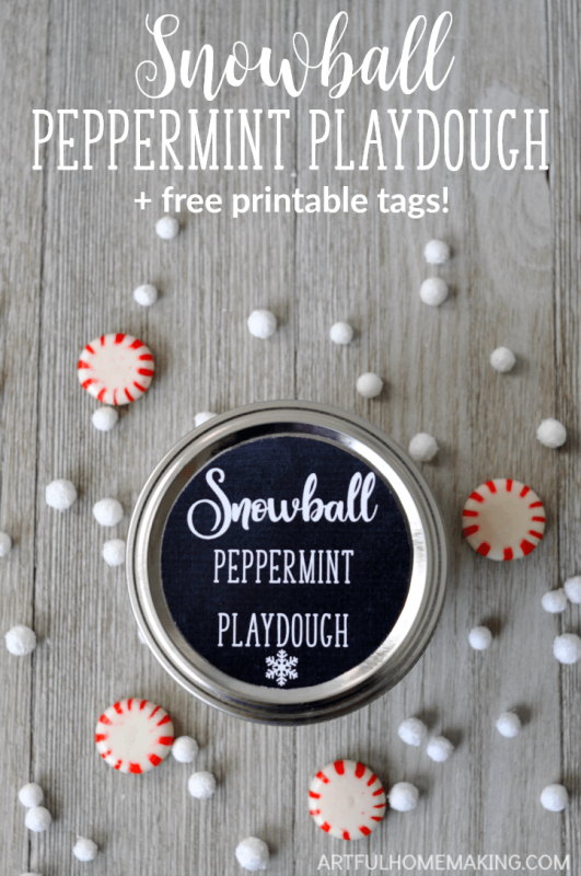 This snowball peppermint playdough recipe is perfect for a snowy day or gift-giving!