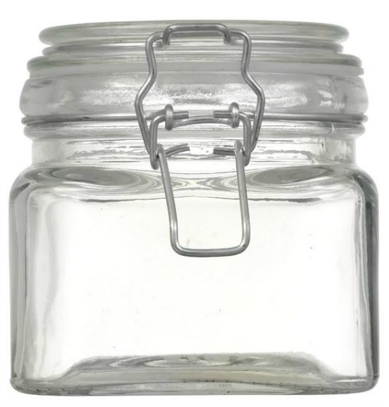 dollar store square glass storage jar with clasp lid