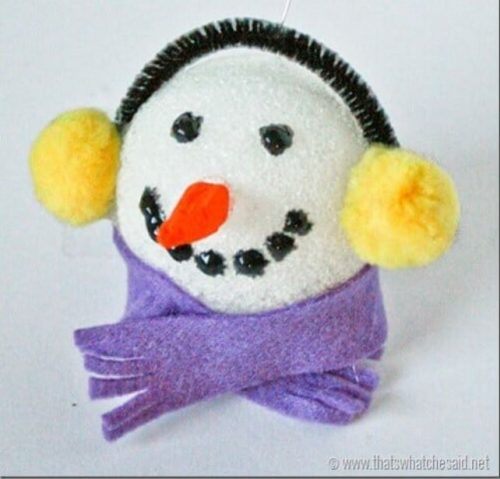 styrofoam snowman craft ornament