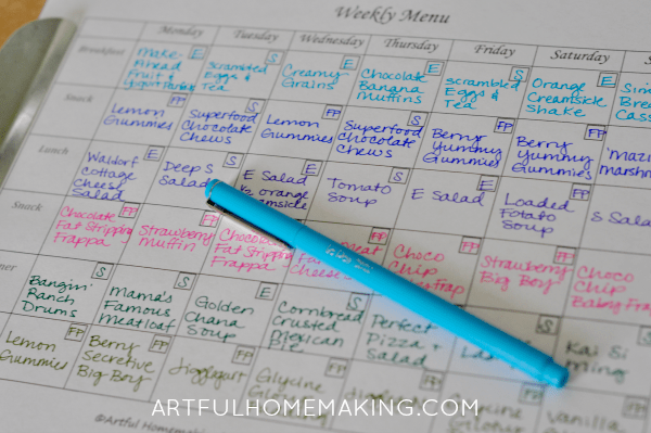 homemaking binder menu planner