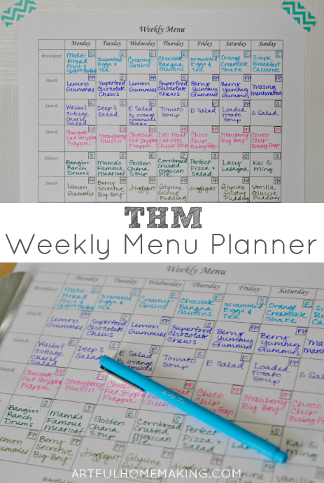 trim healthy mama menu planner