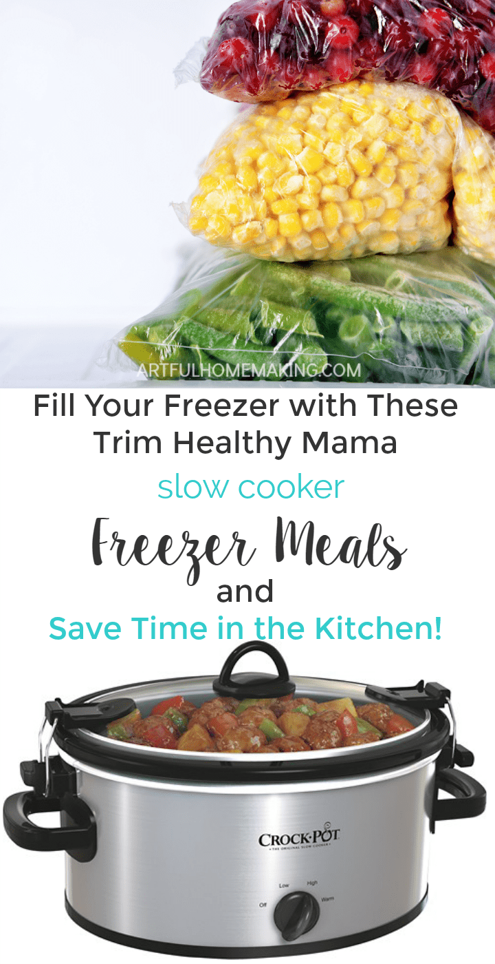 This is such a great list of Trim Healthy Mama slow cooker freezer meals!