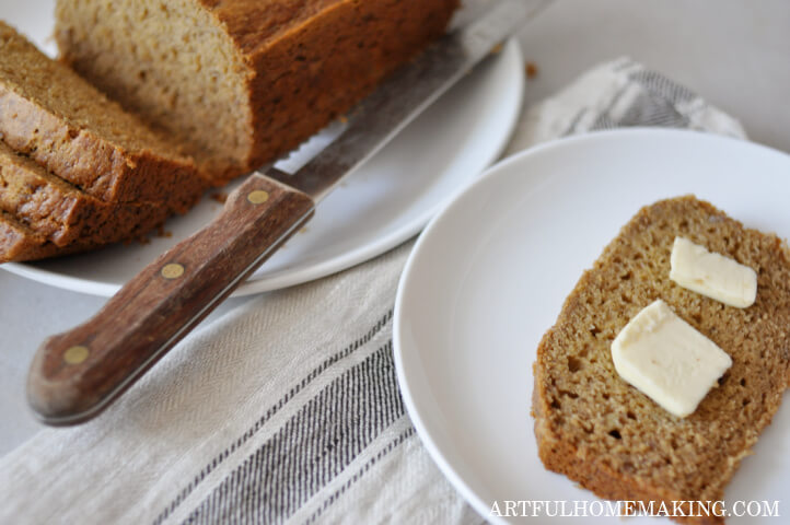 healthy banana bread with butter